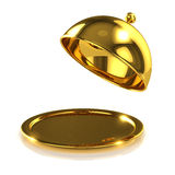 3d Gold tray opens Royalty Free Stock Photos