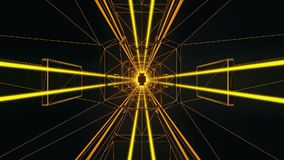 3D Gold Tron Style Tunnel Loopable Motion Graphic Background stock footage