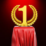 3d gold trophy on red pedestal Stock Photo