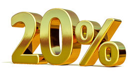3d Gold 20 Twenty Percent Discount Sign Royalty Free Stock Photo