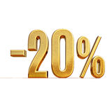 3d Gold 20 Twenty Percent Discount Sign. Gold Sale 20%, Gold Percent Off Discount Sign, Sale Banner Template, Special Offer 20% Off Discount Tag, Twenty Stock Image