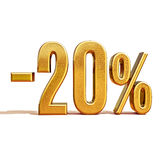 3d Gold 20 Twenty Percent Discount Sign. Gold Sale 20%, Gold Percent Off Discount Sign, Sale Banner Template, Special Offer 20% Off Discount Tag, Twenty royalty free illustration