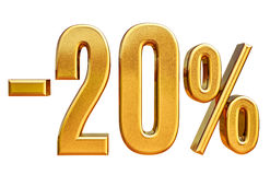3d Gold 20 Twenty Percent Discount Sign. Gold Sale 20%, Gold Percent Off Discount Sign, Sale Banner Template, Special Offer 20% Off Discount Tag, Twenty vector illustration