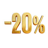 3d Gold 20 Twenty Percent Discount Sign. Gold Sale 20%, Gold Percent Off Discount Sign, Sale Banner Template, Special Offer 20% Off Discount Tag, Twenty Royalty Free Stock Photo