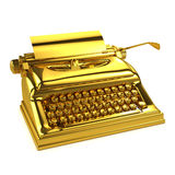 3d Gold typewriter Stock Photography