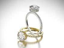 3D Gold- und Silberringe der Illustration zwei mit Diamanten Stockbild