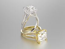 3D Gold- und Silberringe der Illustration zwei mit Diamanten Lizenzfreie Stockfotos