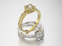 3D Gold- und Silberringe der Illustration zwei mit Diamanten Stockfoto