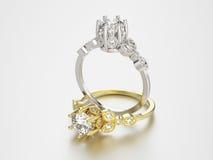 3D Gold- und Silberringe der Illustration zwei mit Diamanten Stockbilder