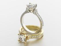 3D Gold- und Silberringe der Illustration zwei mit Diamanten Lizenzfreies Stockbild