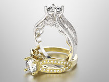 3D Gold- und Silberringe der Illustration zwei mit Diamanten Lizenzfreie Stockfotografie