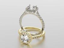 3D Gold- und Silberringe der Illustration zwei mit Diamanten Stockfotos