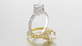 3D Gold- und Silberringe der Illustration zwei mit Diamanten Stockfotografie
