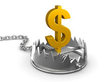 3d Gold US Dollar trap. 3d render of a gold US Dollar symbol in a bear trap Stock Photo