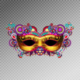 3d gold venetian carnival mask silhouette with ornamental feathe. R isolated on transperance background, vector illustration Stock Image