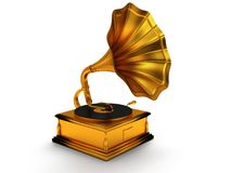 3d gold vintage gramophone  on white Royalty Free Stock Photos