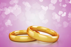 3d gold wedding rings Stock Photography