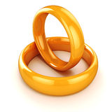 3d gold wedding rings Royalty Free Stock Images