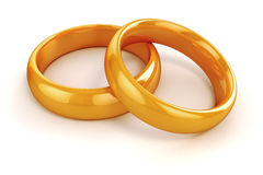 3d gold wedding rings Stock Image