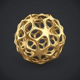 3d gold wireframe ball. Isolated on dark grey background. 3D rendering. Abstract golden decoration Royalty Free Stock Photo