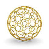 3d gold wireframe sphere over white background with shadow Royalty Free Stock Photos