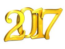 3D Gold Year 2017 on white background.  royalty free illustration