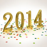 3D Gold Year 2014  on white background. 3D Gold Year 2014 on white background with confetti Stock Image
