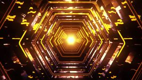 3D Gold Yellow Sci-Fi Hexagon Tunnel VJ Loop ìBackground stock video