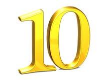 3D Gold zehn auf weißem Hintergrund Stockbild