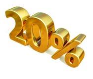 3d Gold 20 zwanzig Prozent-Rabatt-Zeichen Stockbilder