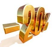 3d Gold 20 zwanzig Prozent-Rabatt-Zeichen Lizenzfreie Stockfotografie