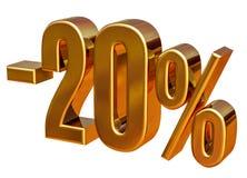 3d Gold 20 zwanzig Prozent-Rabatt-Zeichen Lizenzfreies Stockbild