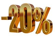 3d Gold 20 zwanzig Prozent-Rabatt-Zeichen Lizenzfreie Stockfotos