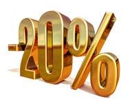 3d Gold 20 zwanzig Prozent-Rabatt-Zeichen Stockfoto