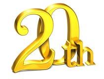 3D Gold zwanzigstes auf weißem Hintergrund Lizenzfreie Stockfotos