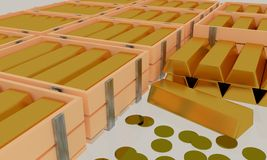 3D Goldbarren in der Holzkiste und Gold wenden im weißen Hintergrund ein Lizenzfreies Stockbild