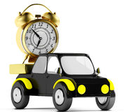 3D golden alarm in a black car Royalty Free Stock Photo