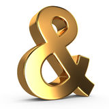 3d golden ampersand Royalty Free Stock Photos