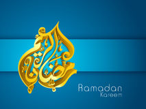3D golden Arabic Islamic calligraphy text Ramadan Kareem. Or Ramazan Kareem on blue background Stock Image