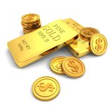 3d golden bars and dollar coins on white. 3d Royalty Free Stock Images
