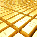 3d golden bars. A field of 3d golden bars Royalty Free Stock Photo