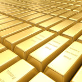 3d golden bars. A field of 3d golden bars Royalty Free Stock Images