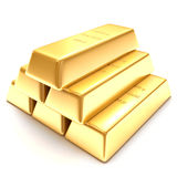 3d golden bars on a white background. 3d golden bars on the white background Royalty Free Stock Images