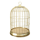 3d golden birdcage Royalty Free Stock Photo