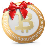 3d golden Bitcoin coin with red bow Royalty Free Stock Photos
