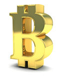 3D Golden Bitcoin isolated on white. Bid Bitcoin symbol letter made of gold isolated on white Royalty Free Stock Photography