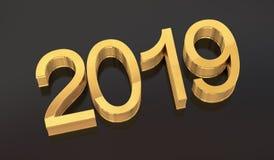 3D Golden 2019 on black stock photography