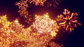 3d golden christmas background with bokeh and depth of field of shiny toy snowflakes hanging in the air beautifully. Shiny slowly swaying and shining in the stock video