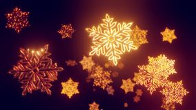 3d golden christmas background with bokeh and depth of field of shiny toy snowflakes hanging in the air beautifully. Shiny slowly swaying and shining in the stock footage