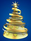 3d golden Christmas tree. 3d illustration of golden Christmas tree over blue background with yellow stars ornament Stock Photos